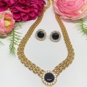 ⚜️VINTAGE Gold Chain Necklace & Earring Set